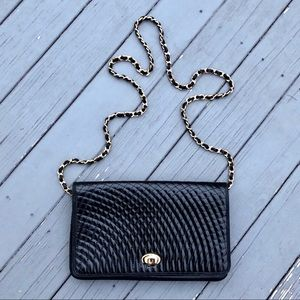Bally Quilted Patent Leather chain strap crossbody